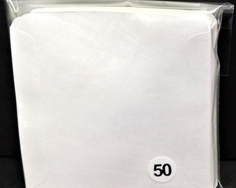 CD Sleeves (50) Wax Paper Pouch Inserts Inner Outer Protector Disc Cover White