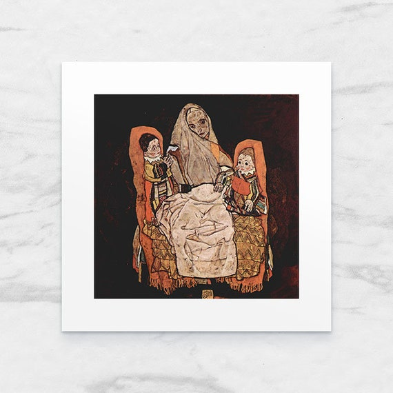 Photo Art Print with Passe-Partout;  Parent with two children (The Mother) by Egon Schiele 25x25 cm