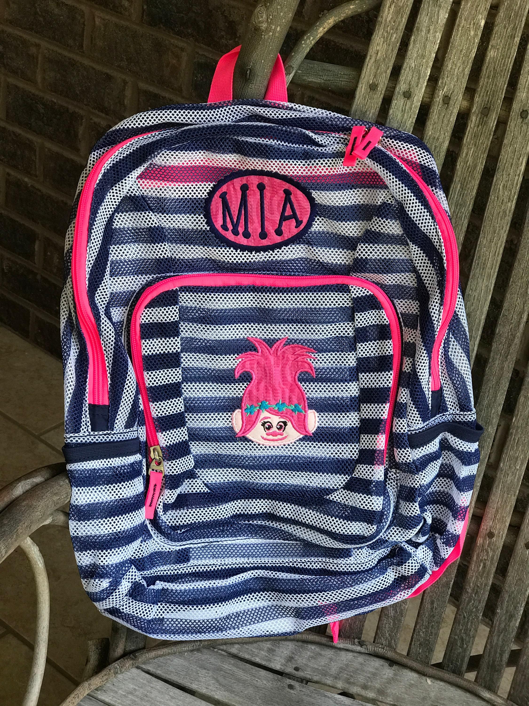 0f3bd984c Monogrammed Backpack Mesh Backpack Troll Backpack Girls   Etsy