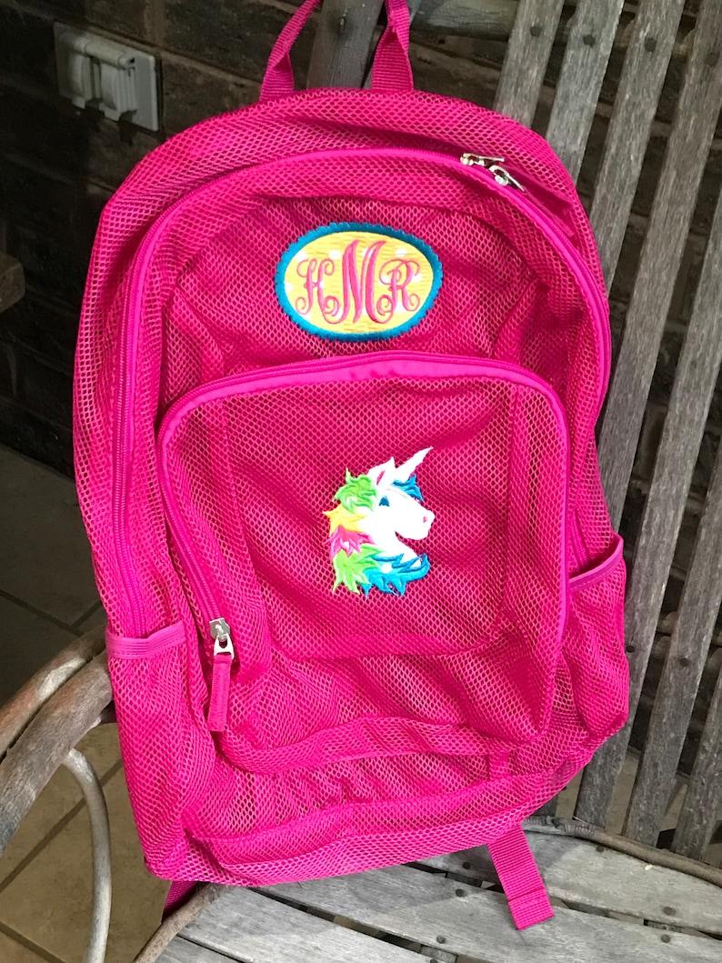 0a754ff2d Monogrammed Backpack Mesh Backpack Unicorn Backpack   Etsy