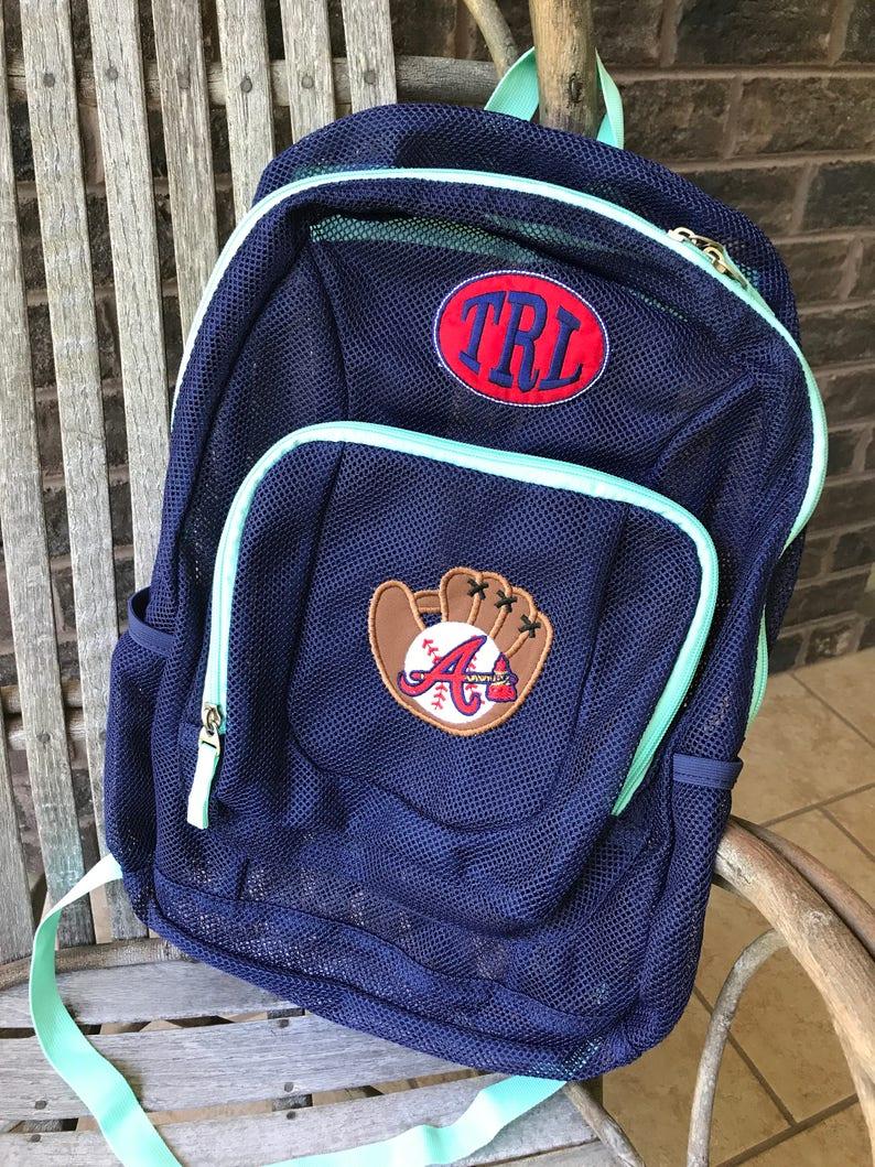 c82d17ff7 Mesh Backpack MLB Team Braves Boys Backpack Football image ...