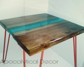 Unique Wood Slab Epoxy Resin River Side Table, Elm Furnishings, Wooden Accent Table, Hideaway Table, Blue River Table, Hairpin Leg Table