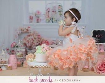 Addilyn Dress Tutu Gown Tulle White Flower Girl Cake Smash Birthday