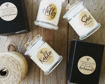 Rustic Inspired Medium Apothecary Bridesmaid Candle/35 hour burn time /black gift box / will you be my bridesmaid? / soy candle / team bride