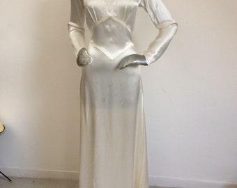 Vintage 1930's Crepe Satin Bias Cut Long Dress With Train