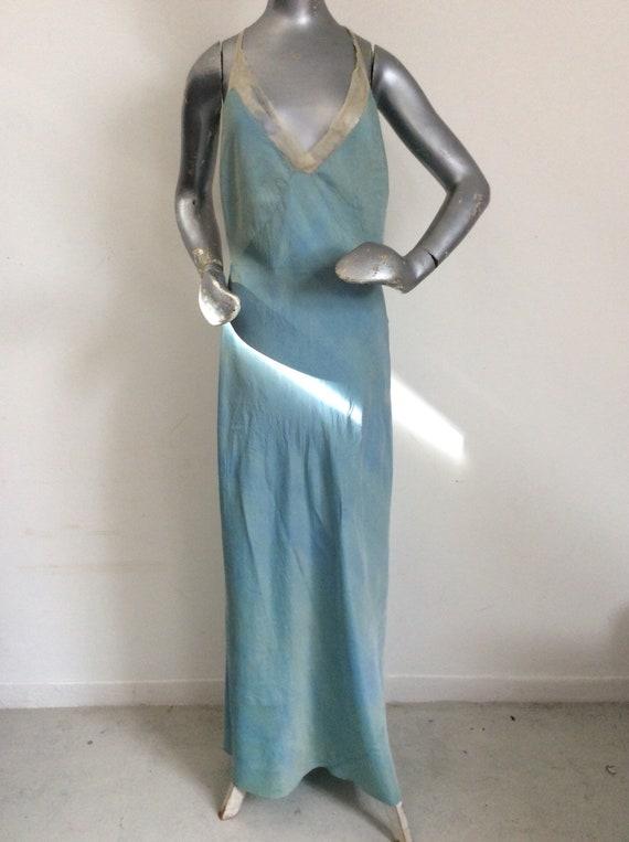 35ed28872594 1930's Silk Slip.. Full Length Mottled Sea Blue/Green Bias | Etsy