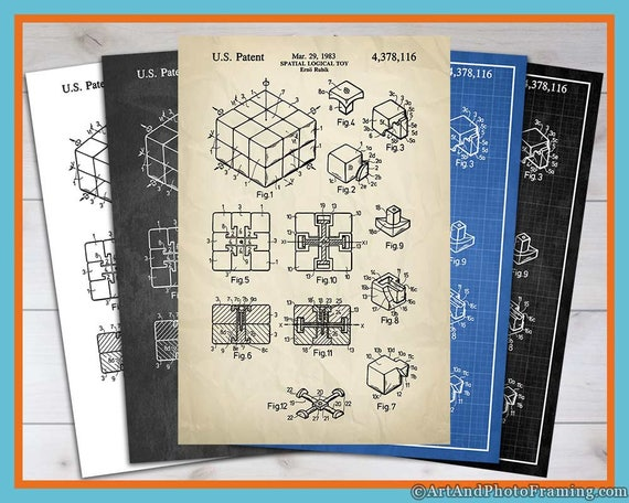 Rubik's Cube Patent Print Magic Cube Wall Art Rubiks Cube Poster Puzzle Decor Magic Cube Fathers Day Gift Puzzle Print Rubiks Cube Blueprint
