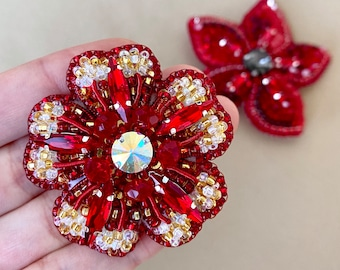 RED FLOWER, Handmade Brooch Pin, Swarovski Crystal, Beaded Embroidered Attire, Elegant Accessory, Fancy Unique Gift – Free US Shipping!!!