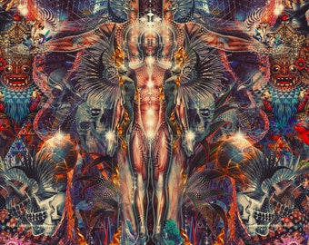 FIFTH ASCENSION   Tapestry,Backdrop,Wall Hanging,Visionary Art,Psychedelic,Digital,Third Eye,Esoteric,Ascension,Barong,Dmt,Lsd,Fire,Trippy