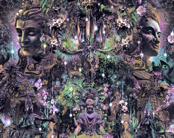 NIGHT OF AWAKENING   Tapestry,Backdrop,Wall Hanging,Visionary Art,Psychedelic,Digital,Third Eye,Mahashivaratri,Shiva,Forest,Marijuana,India