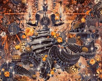 RESONANCE   Tapestry,Backdrop,Wall Hanging,Visionary Art,Psychedelic,Digital,Third Eye,Esoteric,Citrine,Honey,Sound,Shell,Resonance,Autumn.