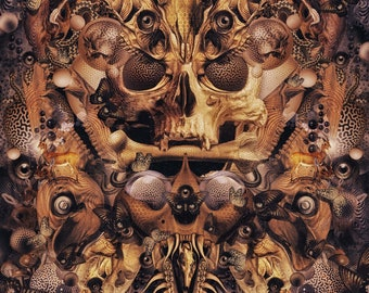 Devour Duality (Canvas,Art,Visionary Art,Psychedelic,Digital,Duality,Dark,Skull,Liberation,Truth,Art Print,India,Meditation,Third Eye,Love.)