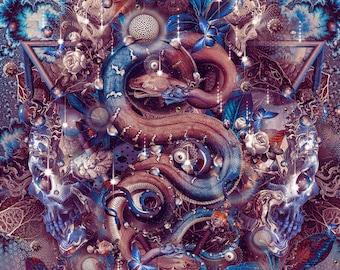 PRIMEVAL PERCEPTION   Ltd. Edition Tapestry,Backdrop,Wall Hanging,Visionary Art,Psychedelic,Digital,Third Eye,Esoteric,Snake,Kundalini,Cobra