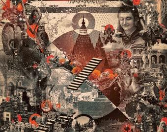 KAASHI   Tapestry,Backdrop,Wall Hanging,Visionary Art,Psychedelic,Digital,Third Eye,Esoteric,Shiva,Varanasi,Ganga,Love,Truth,Aghora,India