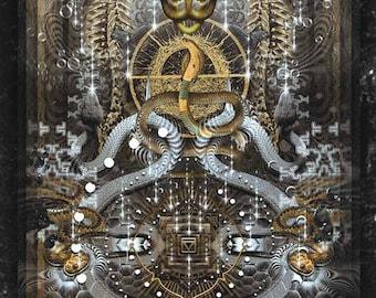 NAAG PANCHAMI   Tapestry,Backdrop,Wall Hanging,Visionary Art,Psychedelic,Digital,Third Eye,Esoteric,Holistic,Cobra,Kundalini,Enlightenment