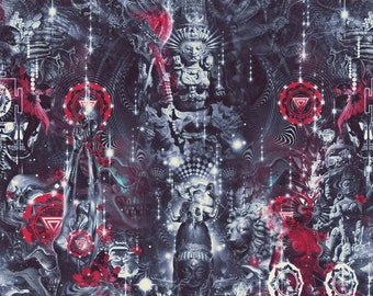 Maha.Kali I Maha.Dev (Canvas,Art,Visionary Art,Psychedelic Art,Digital Art,Holistic Art,Kali,Shiva,Durga,Trippy,Wall Hanging,Tapestry,Maa.)