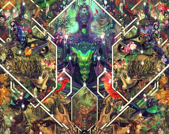 CHAOS THEORY   Tapestry,Backdrop,Wall Hanging,Visionary Art,Psychedelic,Digital,Third Eye,Esoteric,B&W,Forest,Skull,Reincarnation,Truth,Love