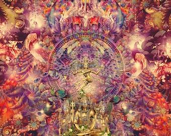 COSMIC TANDAVA   Tapestry,Backdrop,Wall Hanging,Visionary Art,Psychedelic,Digital,Third Eye,Esoteric,Lord Shiva,Tandava,Nataraja,Hindu,India