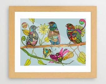 FAMILY BIRDS gicleé print wall decor art decor wall hangings nursery prints