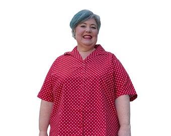 The Joany - plus size short sleeved shirt cotton polka dot print blouse