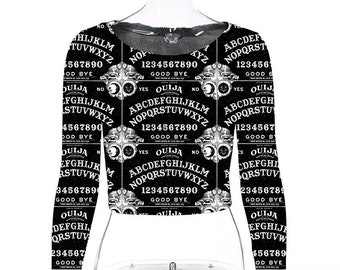Ouija Girl Top - Gothic Ouija Board - long sleeved croptop made to order only