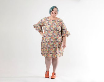 Pretty As A Peach Spring Floral Kez Dress (only one left in size 24)