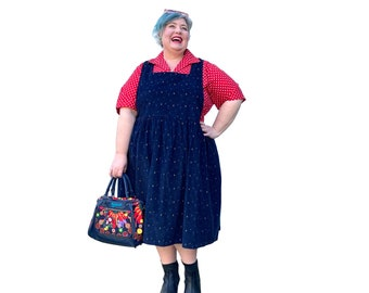 Kelly Square Neckline Geometric Patterned Pinafore Corduroy Dress with pockets available in sizes 6-36 made to order