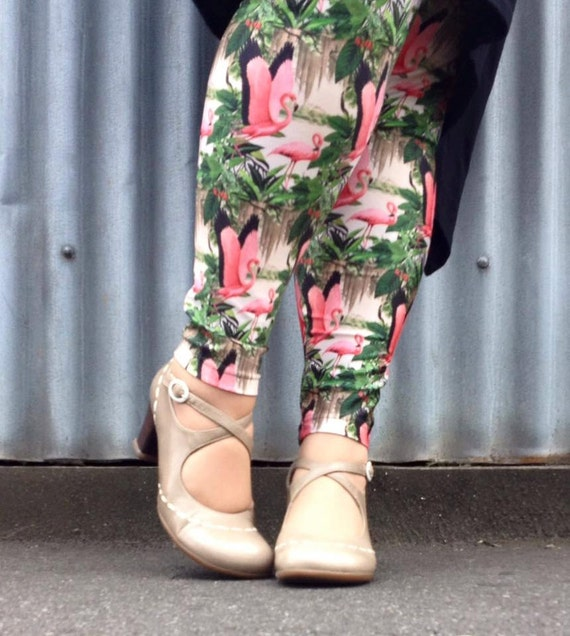 Pretty Pink Flamingo Leggings leggins art for your legs plus size flamingoes peach apricot green natural history IlL4mNEA