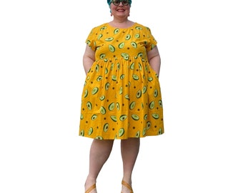 Avocado Love cotton smock dress with pockets