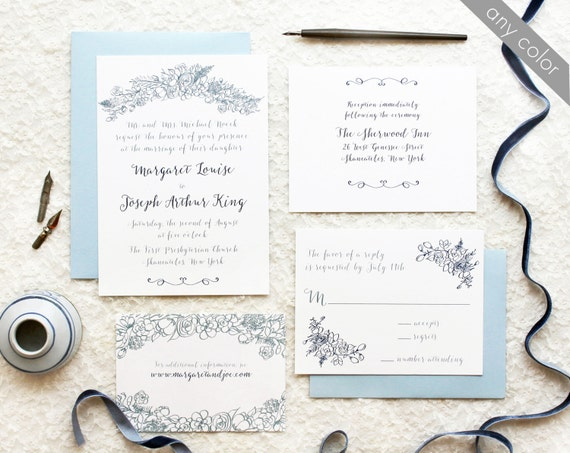 Diy Calligraphy For Wedding Invitations: Printable DIY Wedding Invitations Blue Calligraphy With