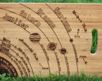 Solar System (Planets, Earth Sun, Moon, Asteroids) Personalised Chopping Board (& Gift Tag) - Present, Birthday, Baking, Cutting, Engraved