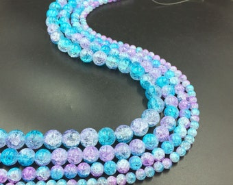6-12mm Crackle Beads Blue Lilac Double Colored Cracked Glass Crystal Beads  Round Beads for Jewelry Making 15.5