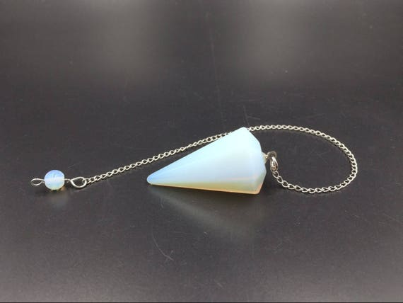 Opalite Opalite Pendulum Pendant Chakra Dowsing Reiki Healing Point Chain Wicca