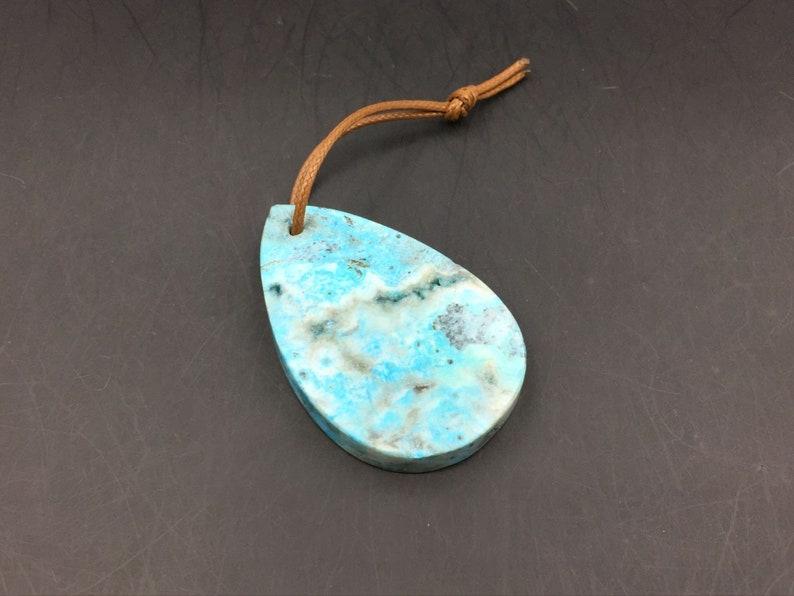 Blue Ocean Jasper Pendant Teardrop Pendant Geode Slice Pendant Gemstone Pendant Ocean Jasper Teardrop Pendant Bead 51x33mm GP-06
