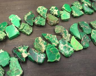 "Imperial Sea Sediment Jasper Free Form Green Jasper Slice beads Slab Beads Top Drilled Gemstone Slices Wholesale bulk 15.5"" full strand"