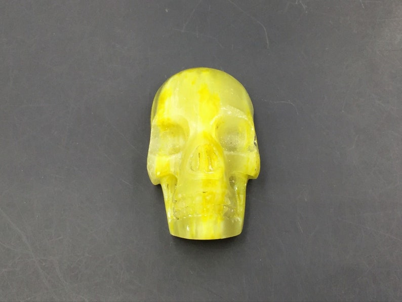 Rare Unique Stone Skull Pendant Natural Gemstone Realistic Skull Hand Carved Flat Back Skull Jewelry Charm Craft #049