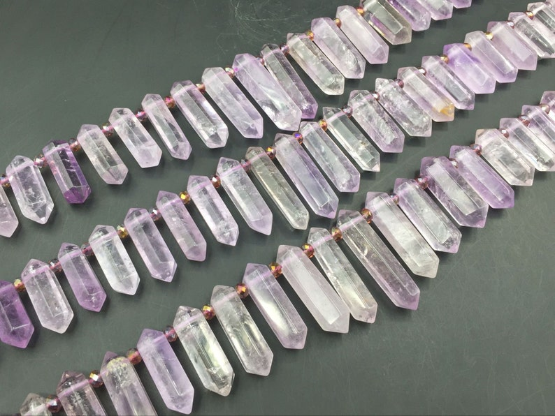 Double Terminated Amethyst Points Light Lavender Amethyst Quartz Crystal Stick Point Beads Supplies Top Drilled 9-12x25-45mm Full Strand KD