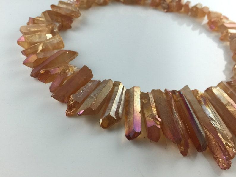 Orange quartz point Crystal quartz beads points Coated Quartz points Dagger beads top drilled Raw Rough Natural full strand 5-8*15-40mm