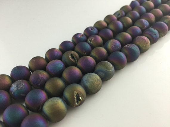 Metallic Titanium Coated Natural Matte Agate Quartz Druzy Round Beads 6mm ~ 12mm