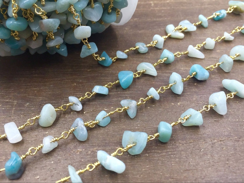 Amazonite Rosary Chain Wholesale Gemstone Chips Chain Wire Wrapped Jewelry Handmade Silver/&Gold Rosary Style Chain Custom Length CCN