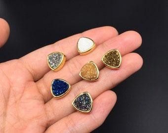 Triangle Druzy Studs Earrings Titanium Druzy Earrings Gold Plated Agate Druzy Geode Earrings Natural Gemstone Druzy Geode Drusy Earrings