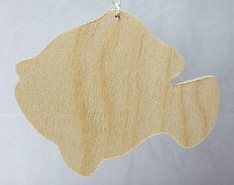 Wooden Goldfish cutout ornament, DIY party favor, Unfinished, nautical, beach silhouette shape, party favors, set of 6