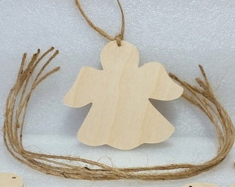 "Wooden Angel Ornament, DIY party favor, set of 6, Unfinished, 3"" tall, holiday decoration, nautical, beach silhouette shape, party favor"
