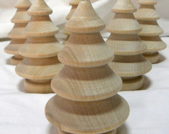 tree ornament unfinished wooden christmas tree diy christmas ornament 3 tall set of 6