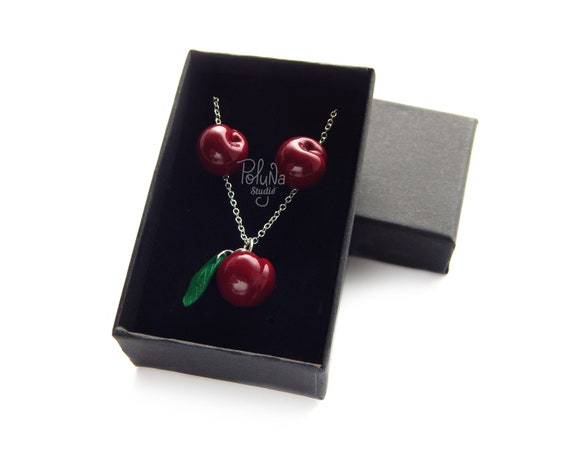 Cherry set cherry berries jewelry fashion jewelry red berry green leaves jewelery polymer clay unique Statement red necklace gift for her