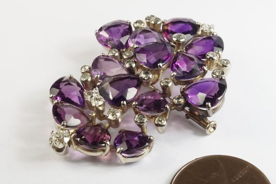 Very Pretty 1940s Vintage 18k White gold Amethyst… - image 2