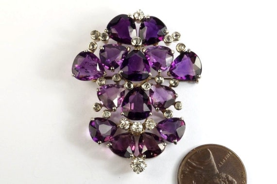 Very Pretty 1940s Vintage 18k White gold Amethyst… - image 1