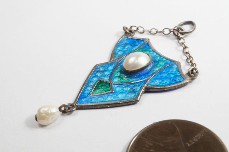 Pretty Antique Silver Enamel and Pearl Art Nouveau Pendant c1910