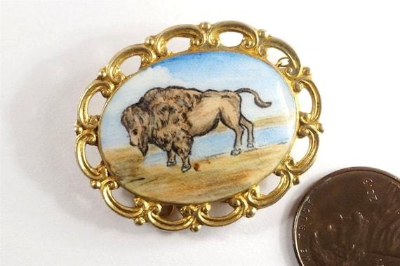 Lovely Vintage Silver Gilt Bison / Buffalo Brooch