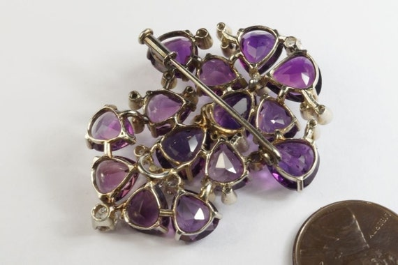 Very Pretty 1940s Vintage 18k White gold Amethyst… - image 3